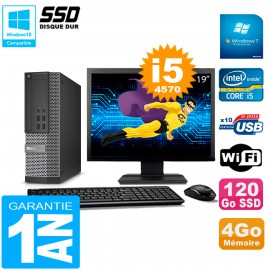 """PC DELL 7020 SFF Ecran 19"""" Core I5-4570 RAM 4Go Disque Dur 120 Go SSD Wifi W7"""