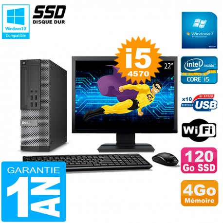 """PC DELL 7020 SFF Ecran 22"""" Core I5-4570 RAM 4Go Disque Dur 120 Go SSD Wifi W7"""