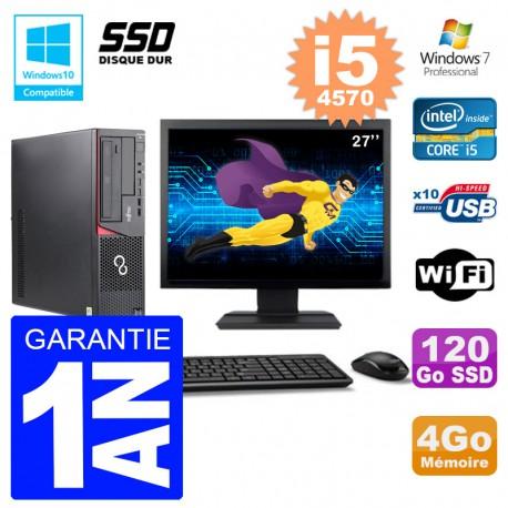 PC Fujitsu Esprimo E720 E85+ DT Ecran 27'' i5-4570 RAM 4Go 120 Go SSD Wifi W7