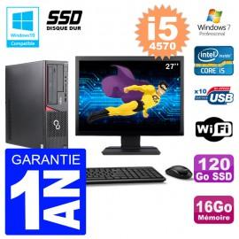PC Fujitsu Esprimo E720 E85+ DT Ecran 27'' i5-4570 RAM 16Go 120 Go SSD Wifi W7