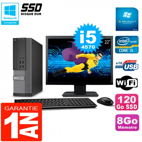 """PC DELL 7020 SFF Ecran 22"""" Core I5-4570 RAM 8Go Disque Dur 120 Go SSD Wifi W7"""