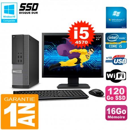 """PC DELL 7020 SFF Ecran 22"""" Core I5-4570 RAM 16Go Disque Dur 120 Go SSD Wifi W7"""