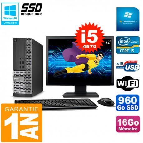 """PC DELL 7020 SFF Ecran 22"""" Core I5-4570 RAM 16Go Disque Dur 960 Go SSD Wifi W7"""