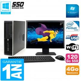"PC HP Compaq 8300 SFF Ecran 27"" Intel G850 RAM 4Go Disque 120 Go SSD Wifi W7"
