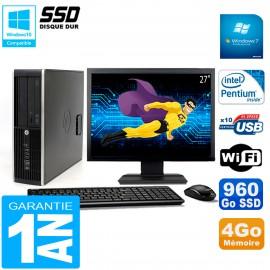 "PC HP Compaq 8300 SFF Ecran 27"" Intel G850 RAM 4Go Disque 960 Go SSD Wifi W7"