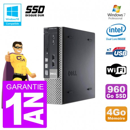 Mini PC Dell 7010 Ultra USFF G640 RAM 4Go 960Go SSD Wifi W7