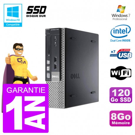 Mini PC Dell 7010 Ultra USFF G640 RAM 8Go 120Go SSD Wifi W7