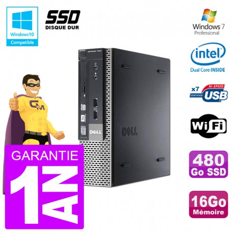 Mini PC Dell 7010 Ultra USFF G640 RAM 16Go 480Go SSD Wifi W7