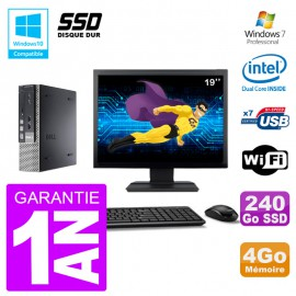 "Mini PC Dell 7010 Ultra USFF Ecran 19"" G640 RAM 4Go 240Go SSD Wifi W7"