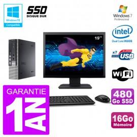 "Mini PC Dell 7010 Ultra USFF Ecran 19"" G640 RAM 16Go 480Go SSD Wifi W7"