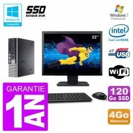 "Mini PC Dell 7010 Ultra USFF Ecran 22"" G640 RAM 4Go 120Go SSD Wifi W7"