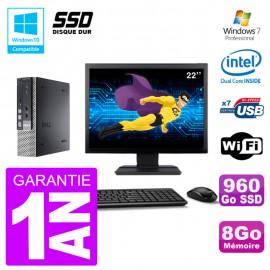 "Mini PC Dell 7010 Ultra USFF Ecran 22"" G640 RAM 8Go 960Go SSD Wifi W7"