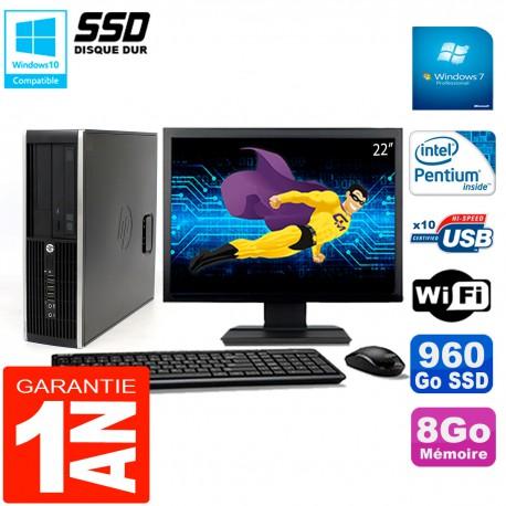 "PC HP Compaq 8300 SFF Ecran 22"" Intel G850 RAM 8Go Disque 960 Go SSD Wifi W7"