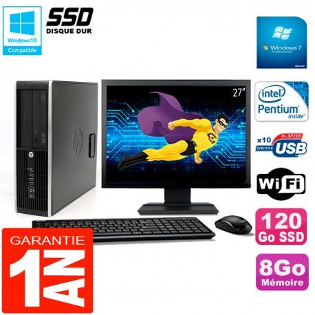 "PC HP Compaq 8300 SFF Ecran 27"" Intel G850 RAM 8Go Disque 120 Go SSD Wifi W7"