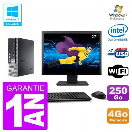 """Mini PC Dell 7010 Ultra USFF Ecran 27"""" G640 RAM 4Go Disque 250Go Wifi W7"""