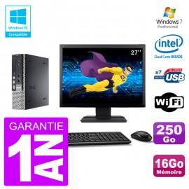 """Mini PC Dell 7010 Ultra USFF Ecran 27"""" G640 RAM 16Go Disque 250Go Wifi W7"""