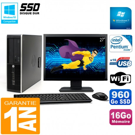 "PC HP Compaq 8300 SFF Ecran 27"" Intel G850 RAM 16Go Disque 960 Go SSD Wifi W7"