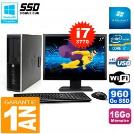 """PC HP Compaq 8300 SFF Ecran 27"""" Core I7-3770 RAM 16Go Disque 960 Go SSD Wifi W7"""