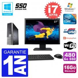 """Mini PC Dell 7010 Ultra USFF Ecran 27"""" Core i7-3770 RAM 16Go 480Go SSD Wifi W7"""