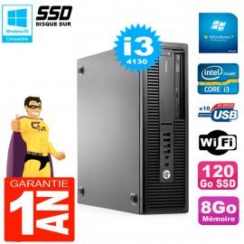 PC HP EliteDesk 800 G1 SFF Core I3-4130 8Go Disque 120Go SSD Graveur DVD Wifi W7