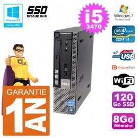 Mini PC Dell 7010 Ultra USFF Core i5-3470 RAM 8Go 120Go SSD Wifi W7