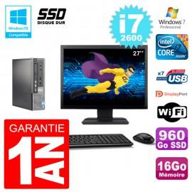 """Mini PC Dell 7010 Ultra USFF Ecran 27"""" Core i7-2600 RAM 16Go 960Go SSD Wifi W7"""