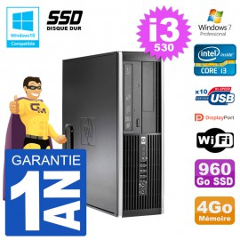 PC HP Compaq 8100 SFF i3-530 RAM 4Go SSD 960Go Graveur DVD Wifi W7