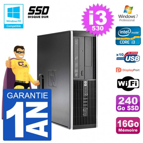 PC HP Compaq 8100 SFF i3-530 RAM 16Go SSD 240Go Graveur DVD Wifi W7