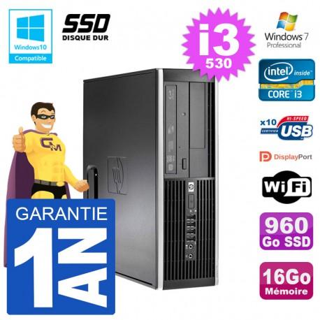 PC HP Compaq 8100 SFF i3-530 RAM 16Go SSD 960Go Graveur DVD Wifi W7