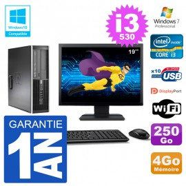 "PC HP Compaq 8100 SFF Ecran 19"" i3-530 RAM 4Go Disque 250Go Graveur DVD Wifi W7"