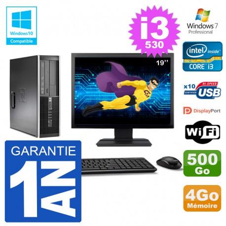 "PC HP Compaq 8100 SFF Ecran 19"" i3-530 RAM 4Go Disque 500Go Graveur DVD Wifi W7"