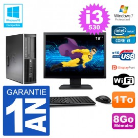 "PC HP Compaq 8100 SFF Ecran 19"" i3-530 RAM 8Go Disque 1To Graveur DVD Wifi W7"