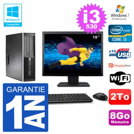 "PC HP Compaq 8100 SFF Ecran 19"" i3-530 RAM 8Go Disque 2To Graveur DVD Wifi W7"