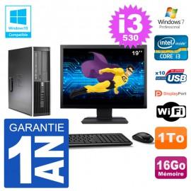 "PC HP Compaq 8100 SFF Ecran 19"" i3-530 RAM 16Go Disque 1To Graveur DVD Wifi W7"