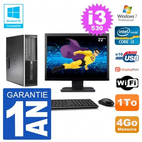 "PC HP Compaq 8100 SFF Ecran 22"" i3-530 RAM 4Go Disque 1To Graveur DVD Wifi W7"