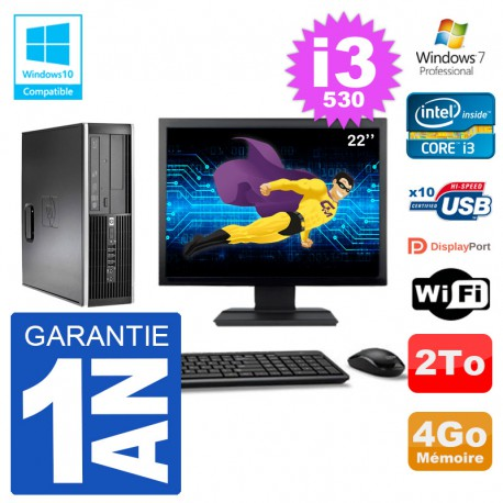 "PC HP Compaq 8100 SFF Ecran 22"" i3-530 RAM 4Go Disque 2To Graveur DVD Wifi W7"