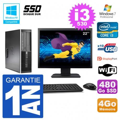 "PC HP Compaq 8100 SFF Ecran 22"" i3-530 RAM 4Go SSD 480Go Graveur DVD Wifi W7"