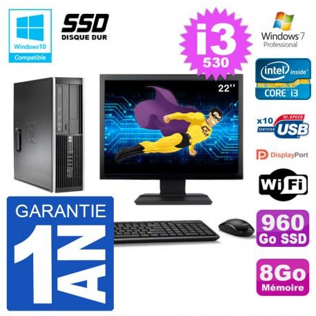 "PC HP Compaq 8100 SFF Ecran 22"" i3-530 RAM 8Go SSD 960Go Graveur DVD Wifi W7"
