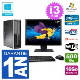 "PC HP Compaq 8100 SFF Ecran 22"" i3-530 RAM 16Go Disque 500Go Graveur DVD Wifi W7"