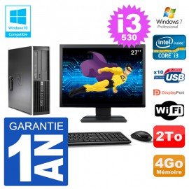 "PC HP Compaq 8100 SFF Ecran 27"" i3-530 RAM 4Go Disque 2To Graveur DVD Wifi W7"