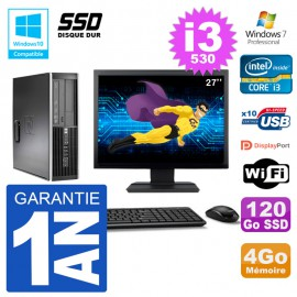 "PC HP Compaq 8100 SFF Ecran 27"" i3-530 RAM 4Go SSD 120Go Graveur DVD Wifi W7"