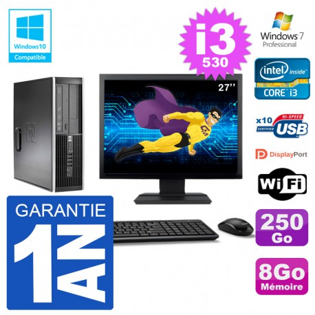 "PC HP Compaq 8100 SFF Ecran 27"" i3-530 RAM 8Go Disque 250Go Graveur DVD Wifi W7"