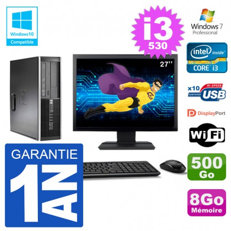 "PC HP Compaq 8100 SFF Ecran 27"" i3-530 RAM 8Go Disque 500Go Graveur DVD Wifi W7"