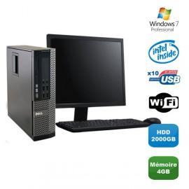 Lot PC DELL Optiplex 790 SFF Pentium G840 2.8Ghz 4Go 2To WIFI W7 Pro + Ecran 19