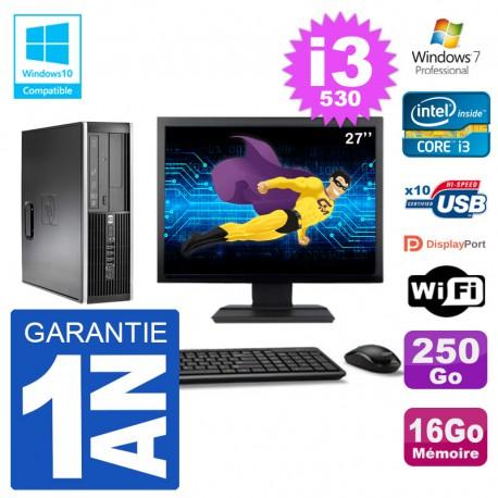 "PC HP Compaq 8100 SFF Ecran 27"" i3-530 RAM 16Go Disque 250Go Graveur DVD Wifi W7"
