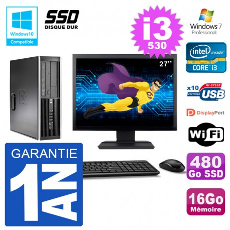 "PC HP Compaq 8100 SFF Ecran 27"" i3-530 RAM 16Go SSD 480Go Graveur DVD Wifi W7"