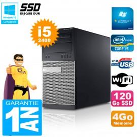 PC Tour DELL 7010 Core I5-2400 RAM 4Go Disque 120 Go SSD Wifi W7