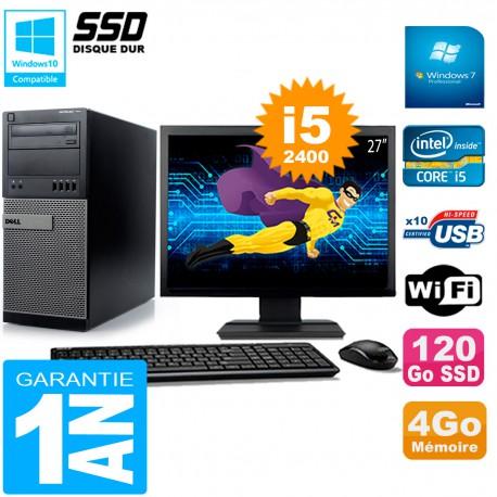 """PC Tour DELL 7010 Ecran 27"""" Core I5-2400 RAM 4Go Disque 120 Go SSD Wifi W7"""