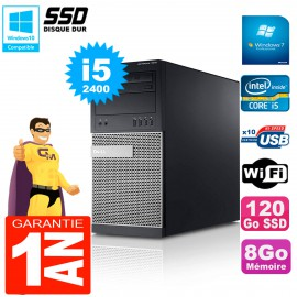 PC Tour DELL 7010 Core I5-2400 RAM 8Go Disque 120 Go SSD Wifi W7