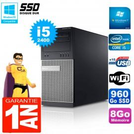 PC Tour DELL 7010 Core I5-2400 RAM 8Go Disque 960 Go SSD Wifi W7